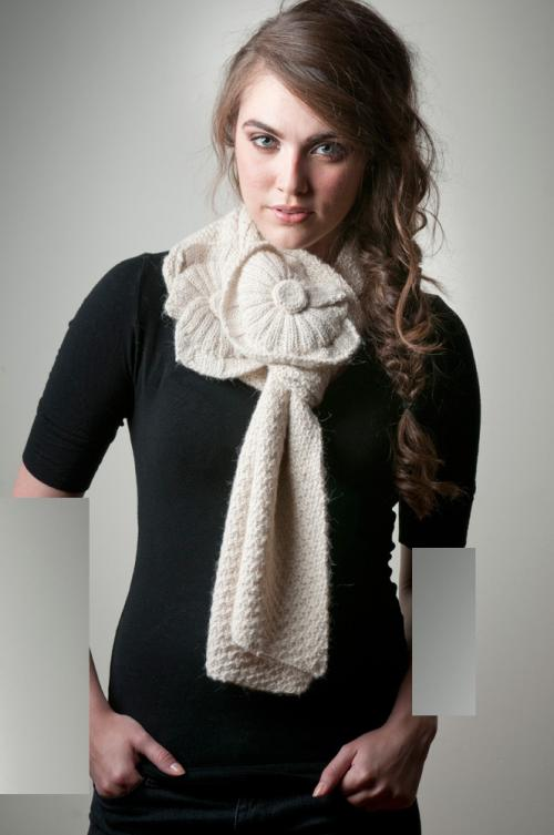عکس مدل شال گردن بافتنی طرح دار-طرح گل