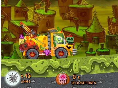 دانلود بازی باب اسفنجی و زامبی های هالووین آنلاین halloween truck zombie shot