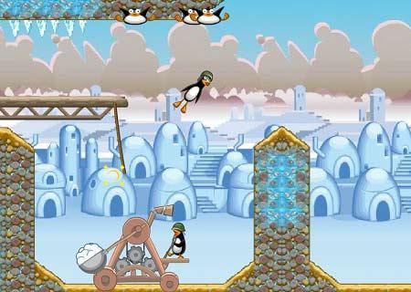 بازی آنلاین فکری با موس پنگوئن های دیوانه Crazy Penguin catapult با دانلود