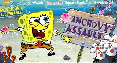 دانلود بازی آنلاین باب اسفنجی و شکارماهی spongebob anchovy assault