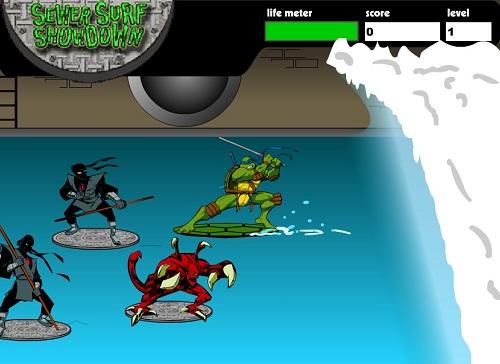 دانلود بازی فلش آنلاین موج سواری لاکپشتهای نینجا (ninja turtles)