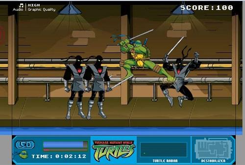 دانلود بازی فلش آنلاین مرحله ای لاکپشت های نینجا (ninja turtles)