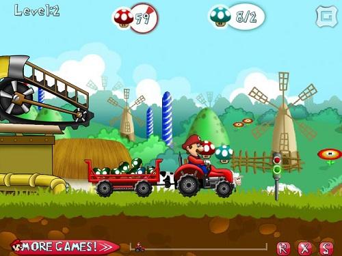بازی آنلاین ماریو : تراکتورسواری در مزرعه قارچ خور- مزرعه داری