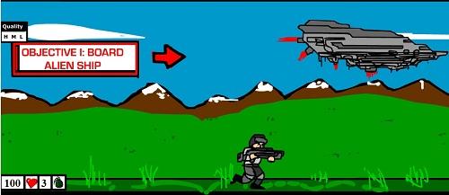 بازی فلش آنلاین جنگ با فضایی ها در زمین